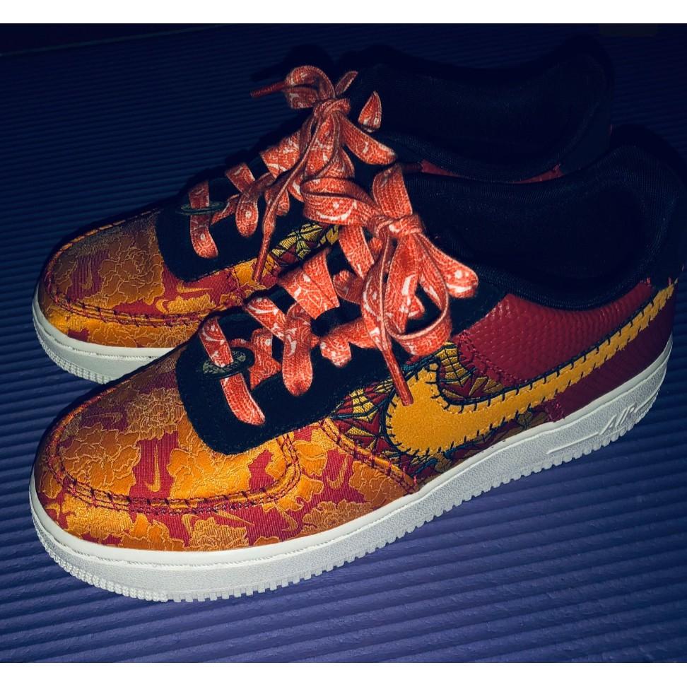 เชือกผูกรองเท้าอะแดปเตอร์Nike Air FORCE ปีใหม่จีน Max 90 SB Dunk lowเย็บมะม่วงหิมพานต์ดอกไม้ลูกไม้