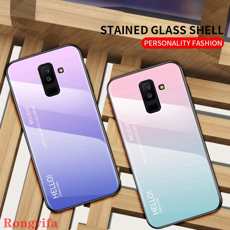 Samsung Galaxy A6 A8 Plus A6+ J8 J2 Pro A7 A9 2018 A750 A9s A9 A8 Star Case Gradient Tempered Glass Hard Back Cover