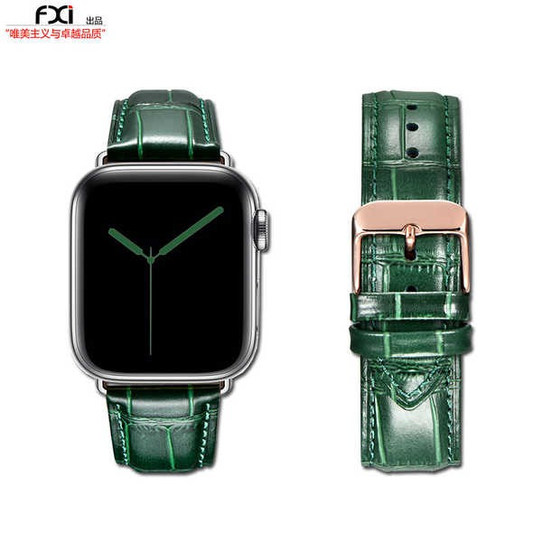 สาย applewatch fxi สายรัดแอปเปิ้ลลายจระเข้สีเขียวสาย applewatch น้ำ iwatch65432 สายนาฬิกา iwatch หนังหญิงและชายอิตาลีชั้
