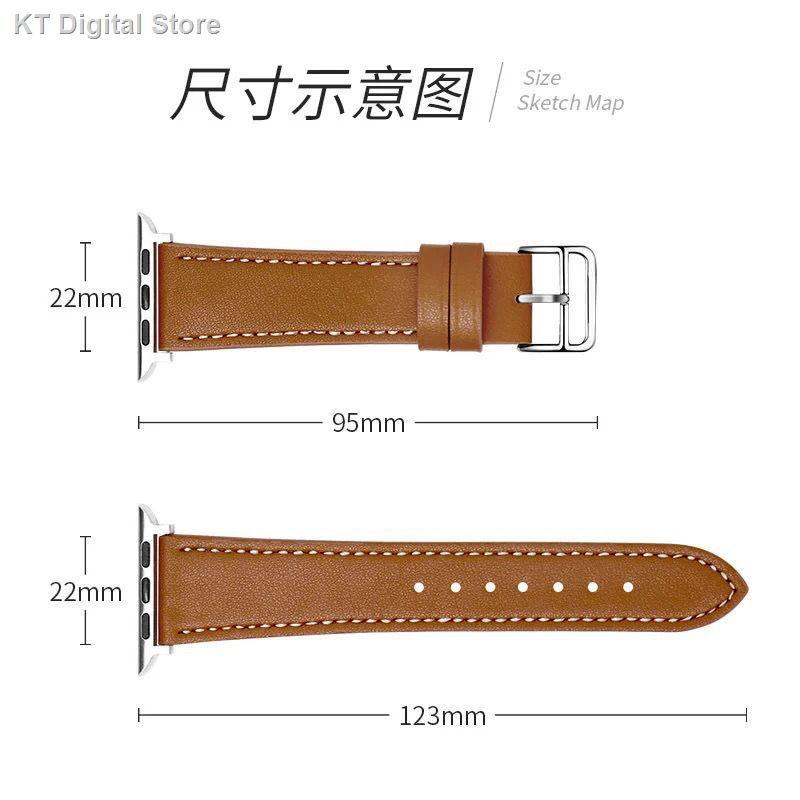 【อุปกรณ์เสริมของ applewatch】℗◈ใช้ได้กับสาย Apple Watch หนัง Hermes สาย Applewatch6 สายหนัง iwatch se
