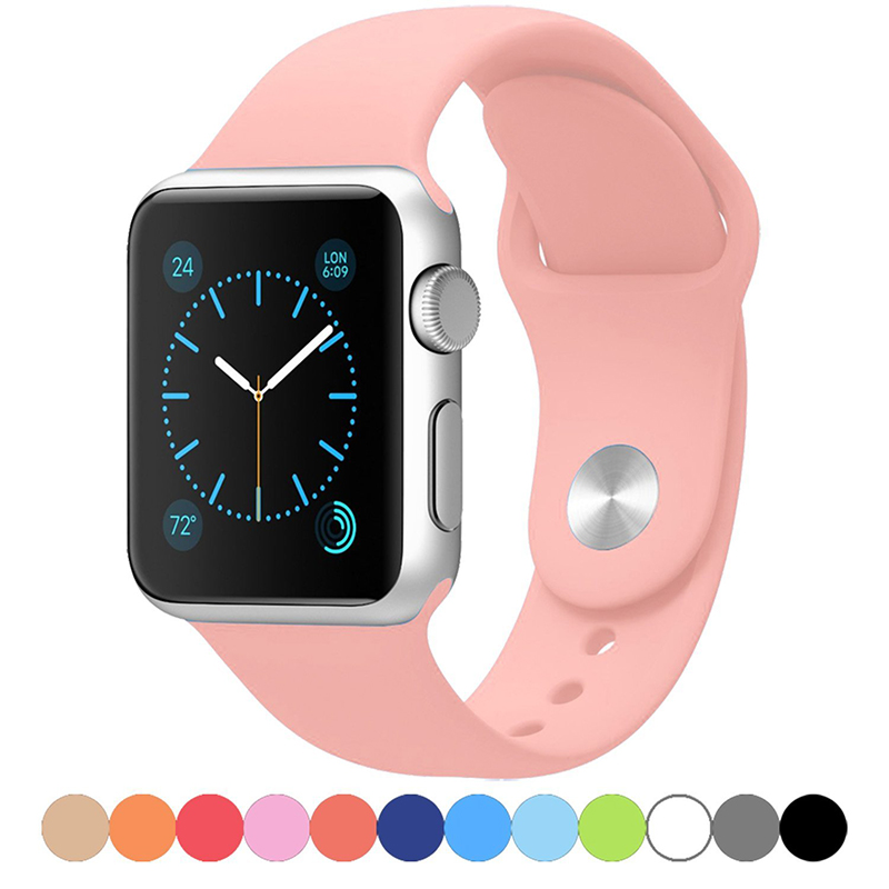 Apple Watch Strap Silicone iWatch Band Series 5 4 3 2 1 38 40mm 42 44mm Sports Wristband Replacement Strap