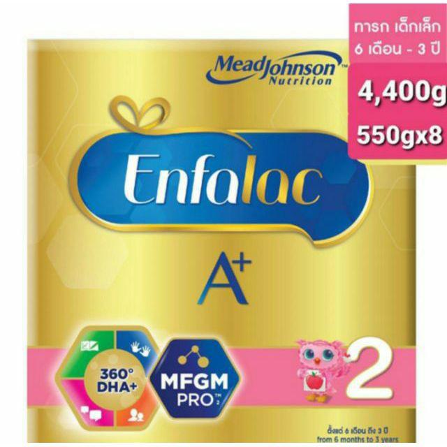 ▨《นมผง》Enfalac เอนฟาแล็คA+สูตร 2 สำหรับทารกเด็กแรกเกิด-1ปีขนาด 4,400 กรัม(1กล่อง)
