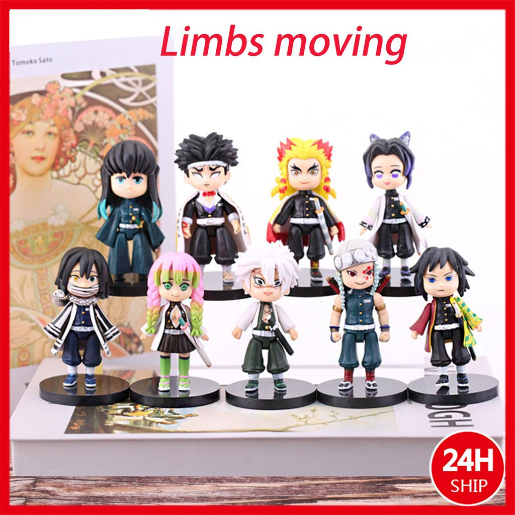 9CM 2021NEW 9pcs/a set Demon Slayer Action Figure Movable hands and feet  Anime Toy Garage Kit  Tanjirou/Kamado Nezuko/A