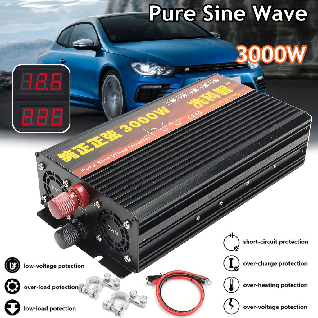 4000 Watt Car Vehicle  12V DC to 220V AC Power Inverter Pure Sine Wave Converter