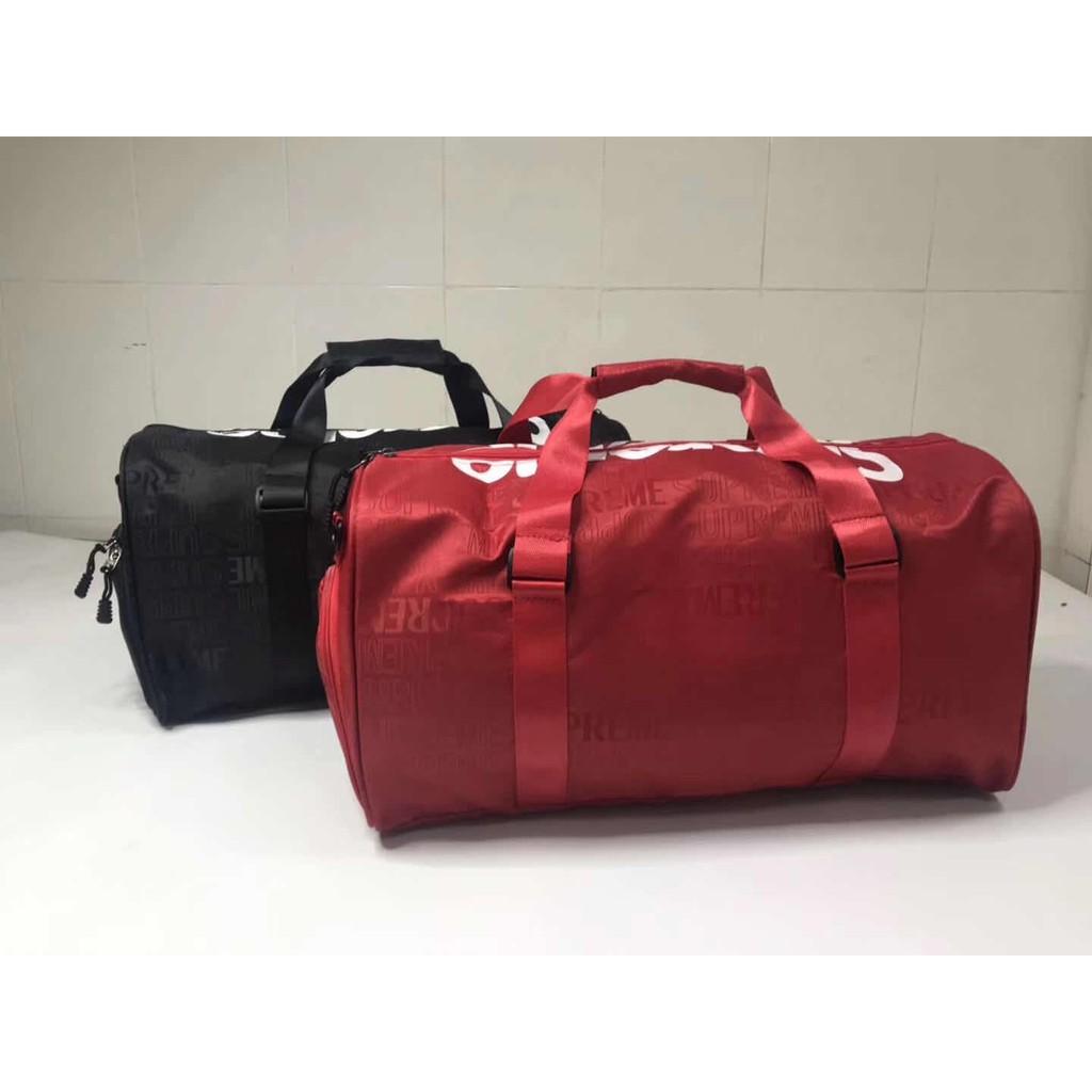 SUPREME SS17 BOX LOGO DUFFLE BAG กระเป๋าเดินทางแบบถือ ผ้าไนล่อนพิมพ์ลายแบรนด์เนม สกรีนโลโก้ ซูพรีม แฟชั่น