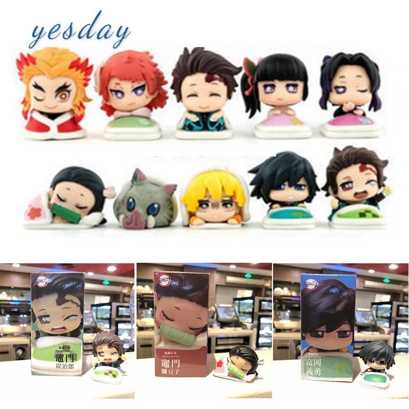 "\""ready stock\"" 5pcs/set Demon Slayer Anime Action Figure Doll Model Cake Figurine Capsule Toys"
