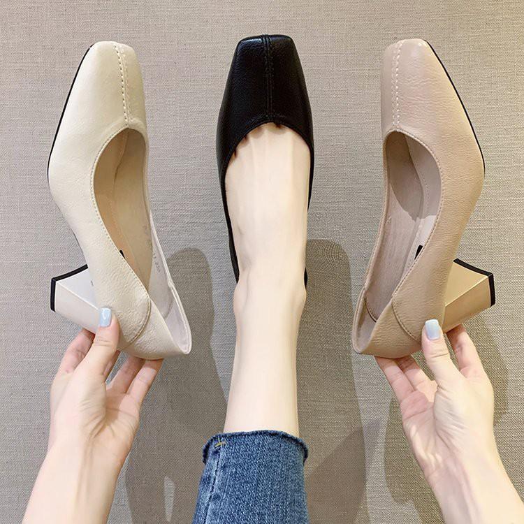 ❤รองเท้าแฟชั่นผู้หญิง❤รองเท้าส้นสูงแฟชั่นรองเท้าส้นสูงผู้หญิง❖✳■รองเท้าคัชชูทำงานหัวเหลี่ยมส้นเหลี่ยมแฟชั่น รองเท้าคัชชู