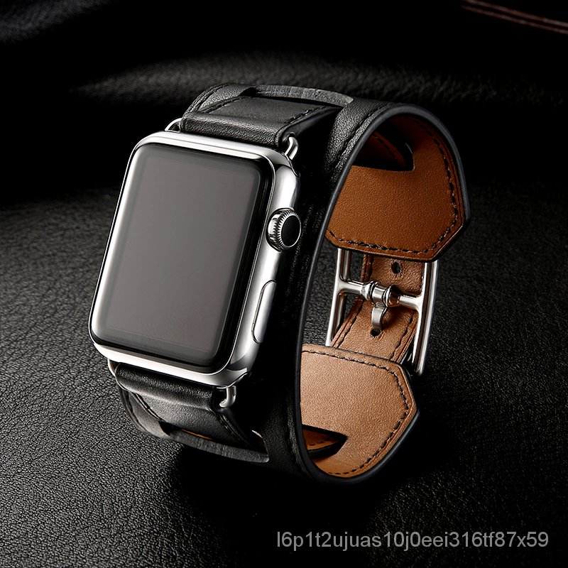 Luxury Classic Cuff Bracelet Belt for Apple Watch 42mm 38mm Band Real Leather Strap iWatch 40mm 44mm Band Series 6 SE 5