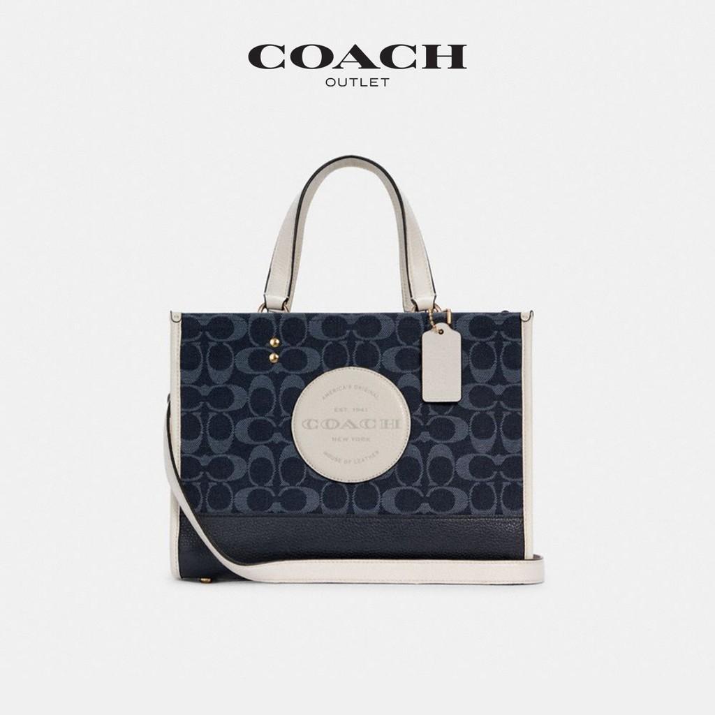♨⊙Coach กระเป๋าผู้หญิงโลโก้คลาสสิกผ้า jacquard ตกแต่ง dempsey Carryall กระเป๋าถือ