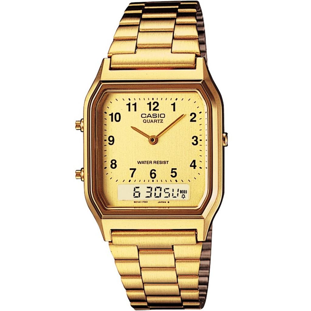 Casio สองระบบ เข็ม+ดิจิตอล นาฬิกาข้อมือสีทอง สายสแตนเลส รุ่น AQ-230GA-9 ของแท้ ประกัน CMG