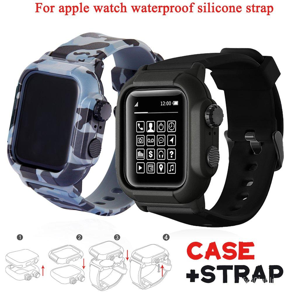 กรุณาใช้ COD สำหรับการชำระเงินCase+silicone Strap for Apple Watch 5 Band 42mm 44mm Waterproof Bracelet for Iwatch 6 4 Ba