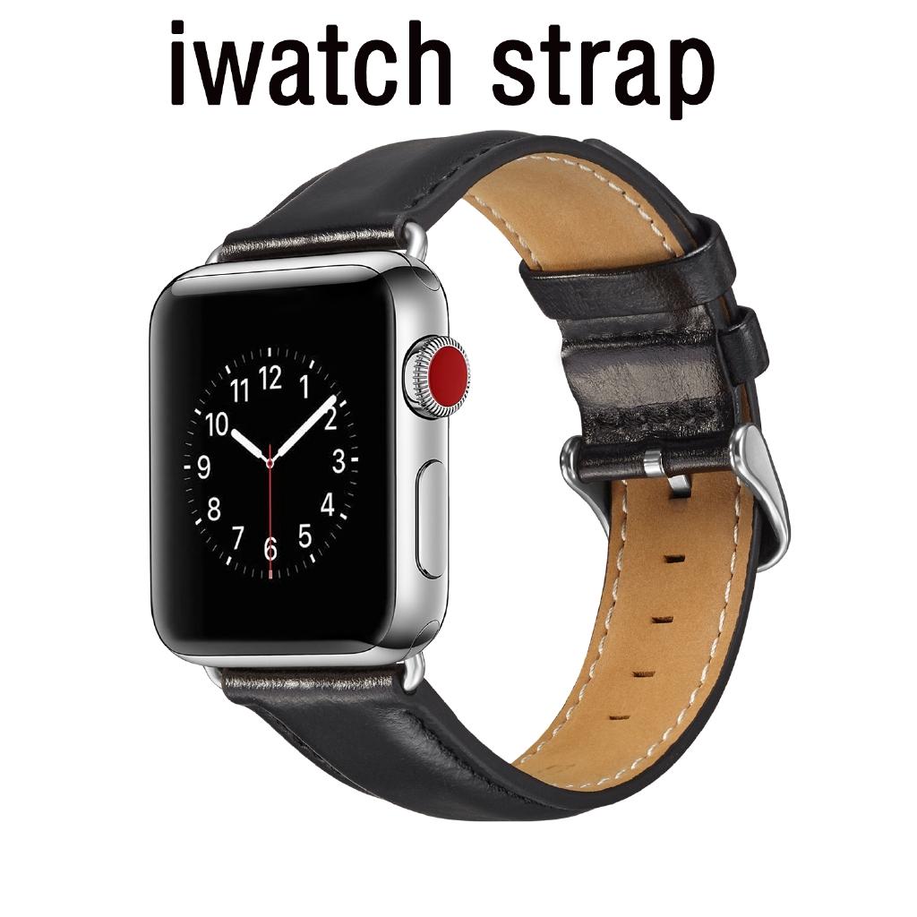 สายนาฬิกาข้อมือหนังสําหรับ Apple Watch Band Series 38mm 40mm 42mm 44mm Iwatch Se 6 5 4 3 2 1