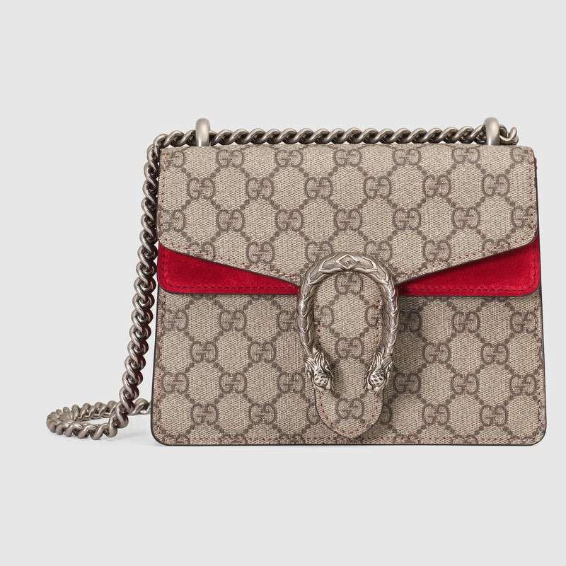 Gucci Dionysus Gg Supreme กระเป๋าสะพายไหล่ขนาดมินิสีไวน์แดง 20 ซม .