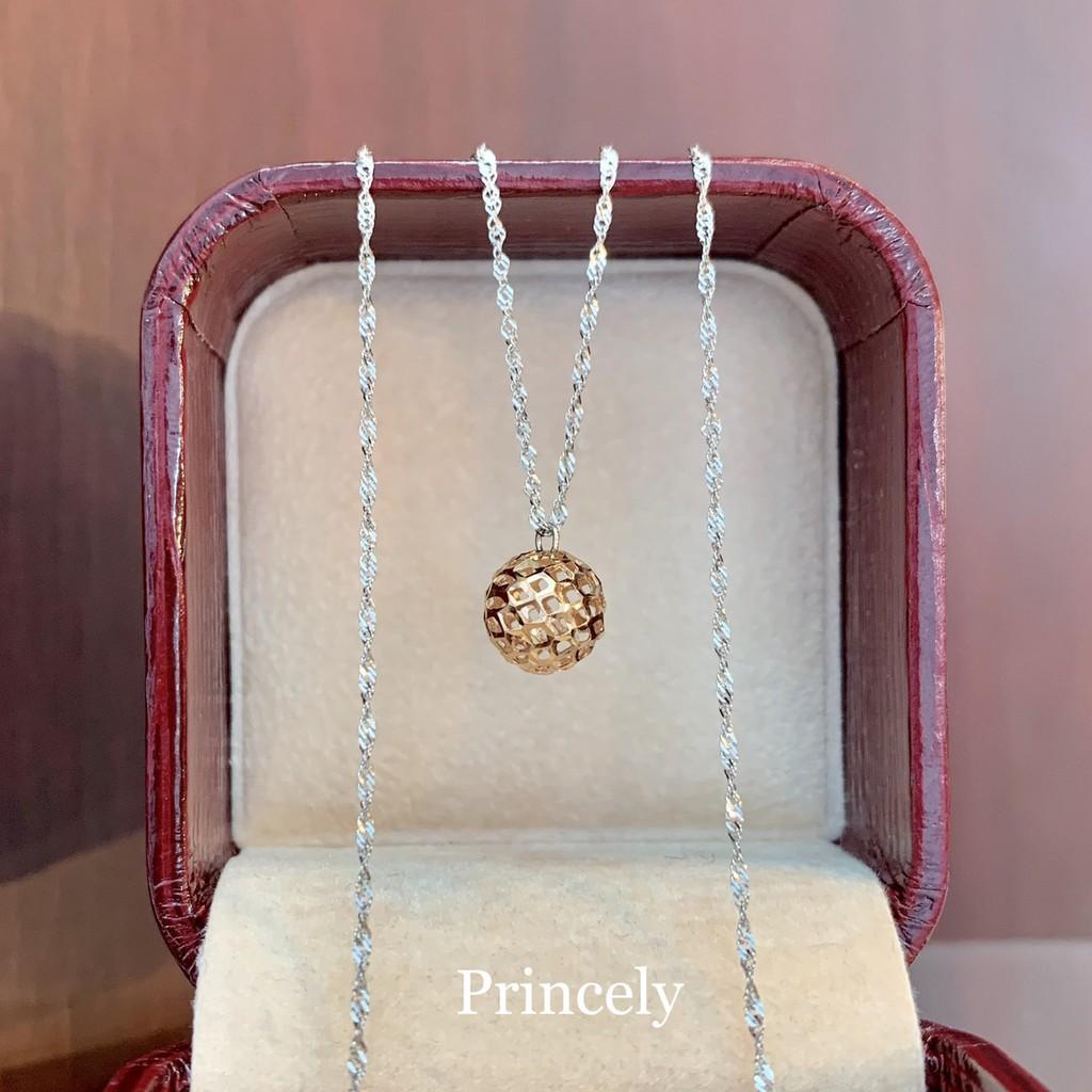 Princely สร้อยคอทองคำขาวแท้ 18K นำเข้าจากอิตาลี ลายDiscoพร้อมจี้บอลชมพู18เค PinkGold ใส่สวย น่ารักมากๆ