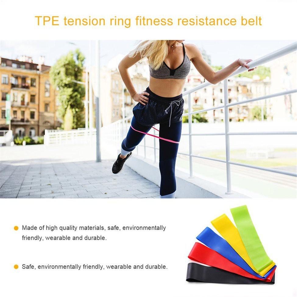 สายยางยืดออกกําลังกาย  Yoga Resistance Bands Stretching Rubber Loop Exercise Fitness Equipment