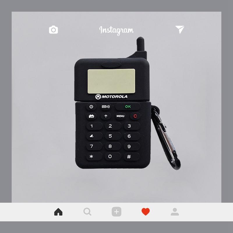 📣📣case airpod โทรศัพท์มือถือย้อนยุครูปร่างสีดำบุคลิกภาพความคิดสร้างสรรค์ airpods รุ่นที่สองแขนป้องกันซิลิโคนแอปเปิ้ลไร