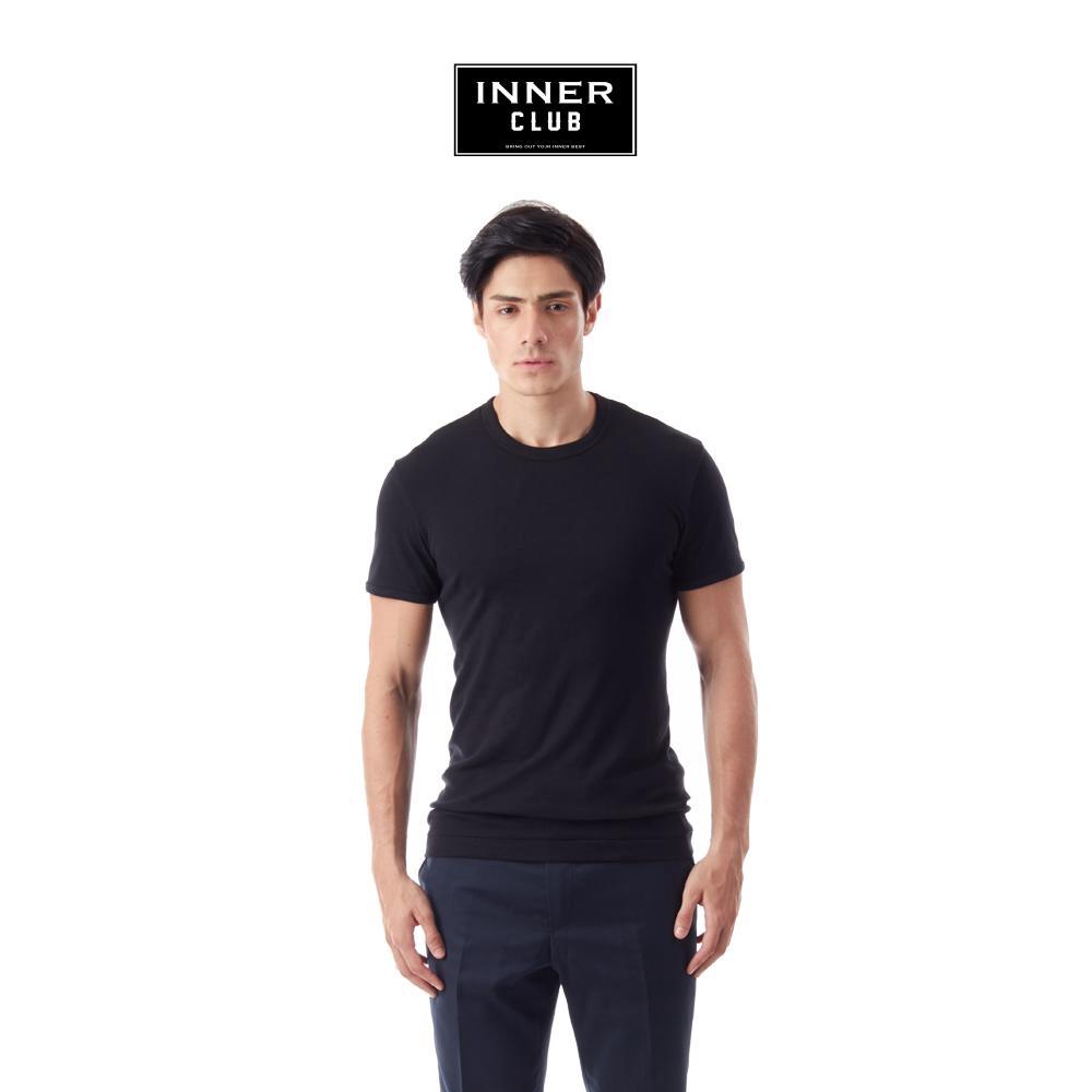Inner Club เสื้อยืดคอกลม ผู้ชาย สีพื้น สีดำ ทุกไซส์
