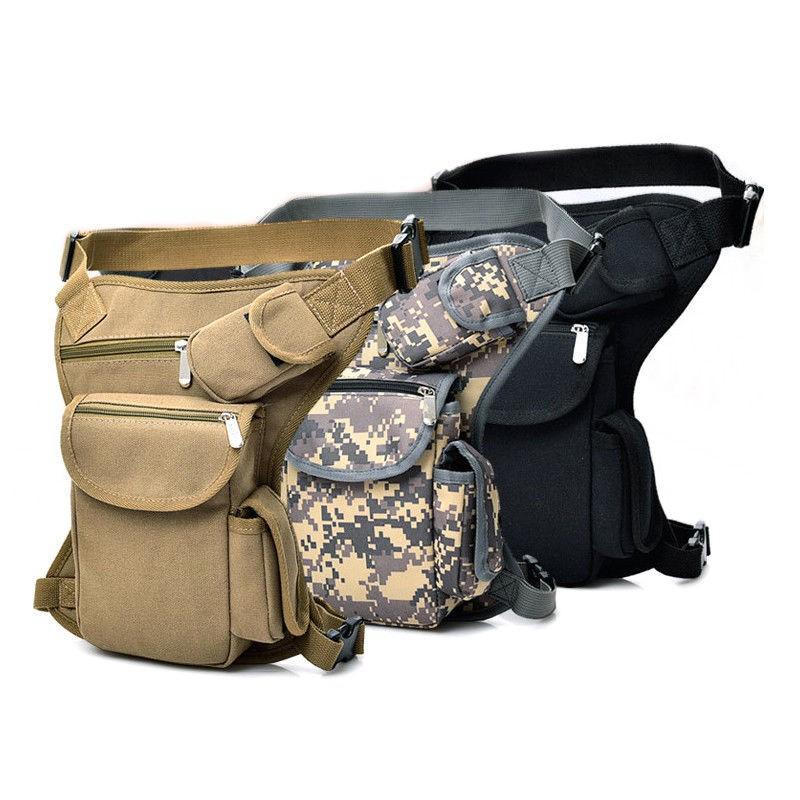 Men s Tactical Thigh Bag Multifunctional Outdoor Sport Zipper Bag Durable Canvas Leg Bag Khaki