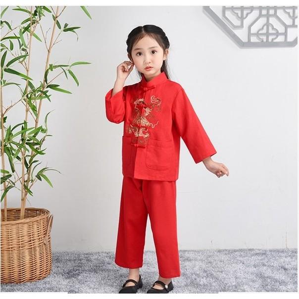 ชุดเสื้อกางเกงตรุษจีน ใส่ได้ทั้งชาย-หญิง ลายมังกร