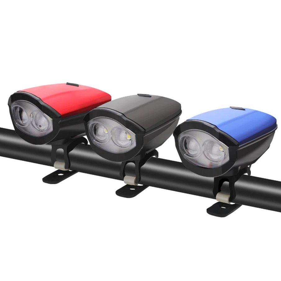 USB Rechargeable LED Bicycle Headlight Bike Head Light Front Lamp+Horn+Rear Lamp