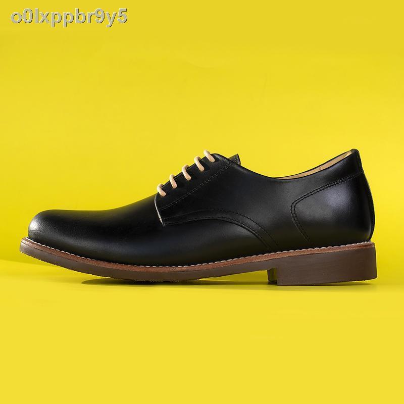【ขาย】✹StepPro รองเท้าหนังแท้คัชชูผู้ชายหุ้มส้นแบบเชือกหนังออยสีดำ Derby Shoes Code 911