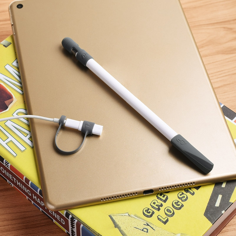 ฝาครอบ pc+tip+อะแดปเตอร์สายเคเบิล lightning 3 ชิ้นสําหรับ apple pencil