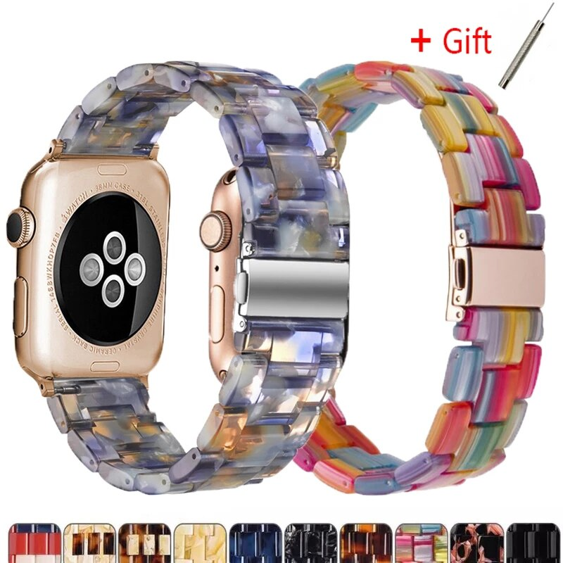 Apple watch 6,5,4 resin strap, 42mm and 38mm strap, Iwatch 6,5,4,3 / 2 series transparent strap, 44mm and 40mm strap