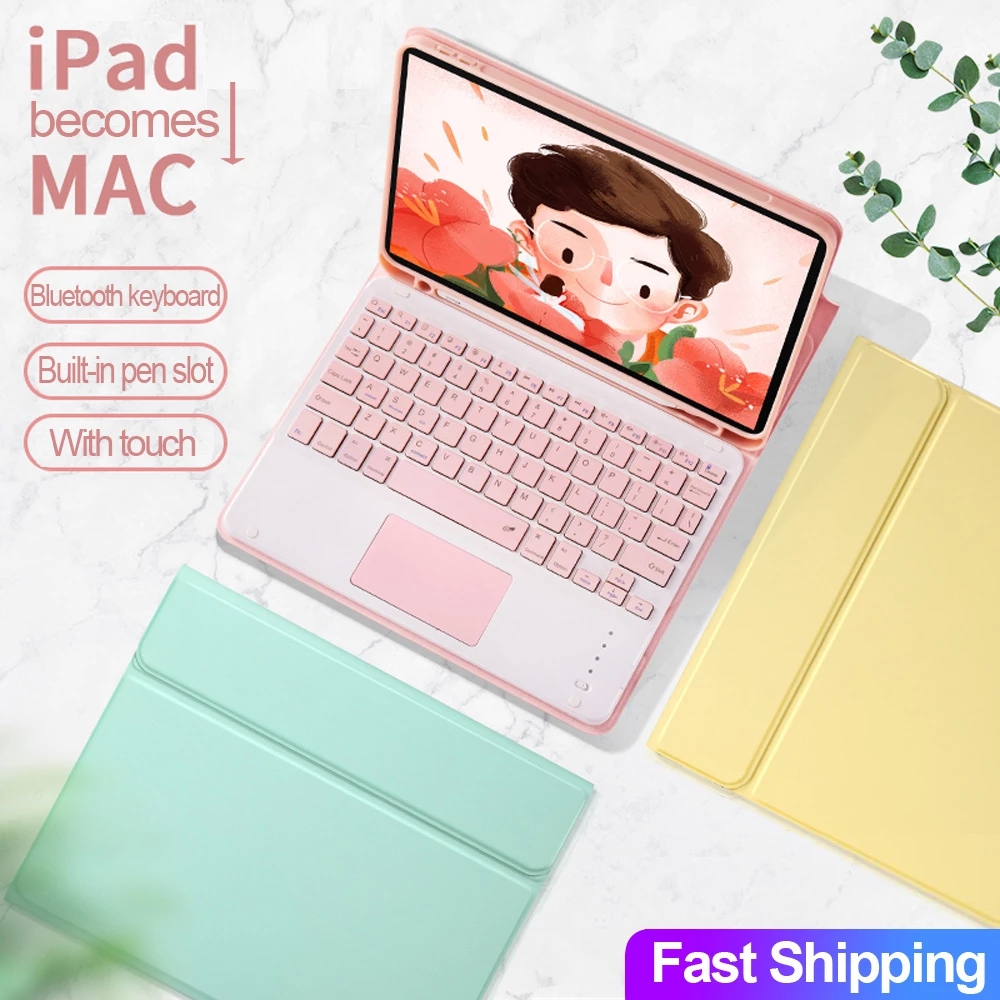 New Touchpad Keyboard Mouse with Leather Cover For Apple iPad Air 4th Gen 10.9 Pro 11 10.5 10.2'' 9.7 1st 2nd 3rd 5th 6th 7th 8th Air2 Air3 Air4 3 2 Smart Wireless Bluetooth Keyboards Pencil Holder Case