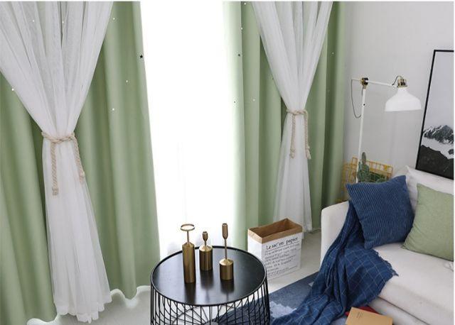 ผ้าม่านหน้าต่าง ผ้าม่านสำเร็จรูป กันแสง 2 ชั้น ใช้ตีนตุ๊กแก รูปดาว YspF1