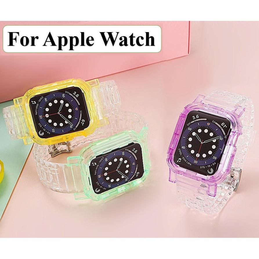 สาย applewatch สายนาฬิกา applewatch สายนาฬิกาข้อมือเข็มกลัดรูแบบคู่ สีใส พร้อมเคส สำหรับ Apple Watch series 6 5 4 3 2 1,