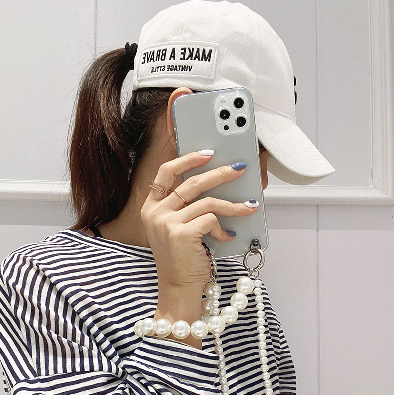Samsung A3 2016 A5 2016 A7 2016 A3 2017 A5 2017 A7 2017 A6 2018 A6Plus A8 2018 A8Plus A7 2018 A9 2018 C5 C5Pro C7 C7Pro C9 C9Pro  Transparent Pearl Chain Phone Casing Samsung Case Back Cover