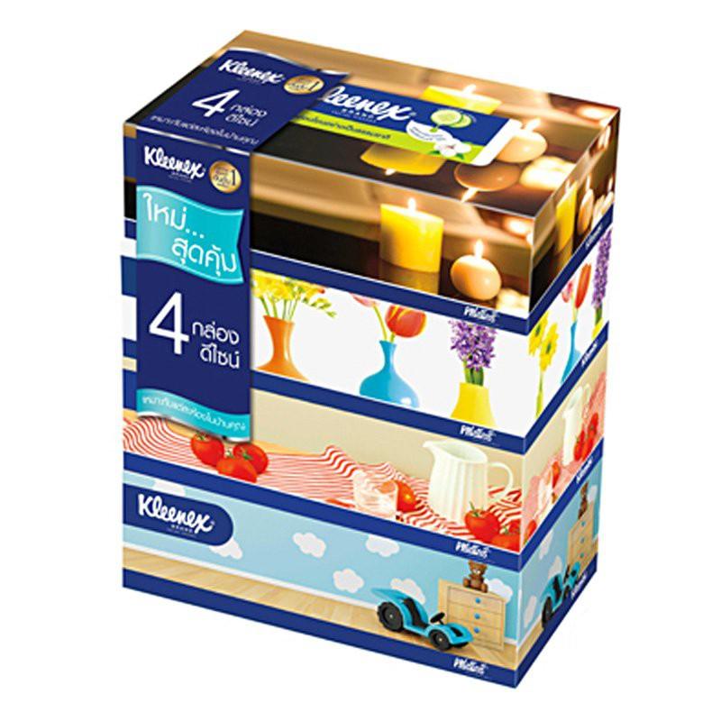 ว๊าว🍟 คลีเน็กซ์ กระดาษเช็ดหน้า รูมดีไซน์ 110 แผ่น แพ็ค 4 กล่อง Kleenex Facial Tissue Room Design 110 Sheets Pack 4