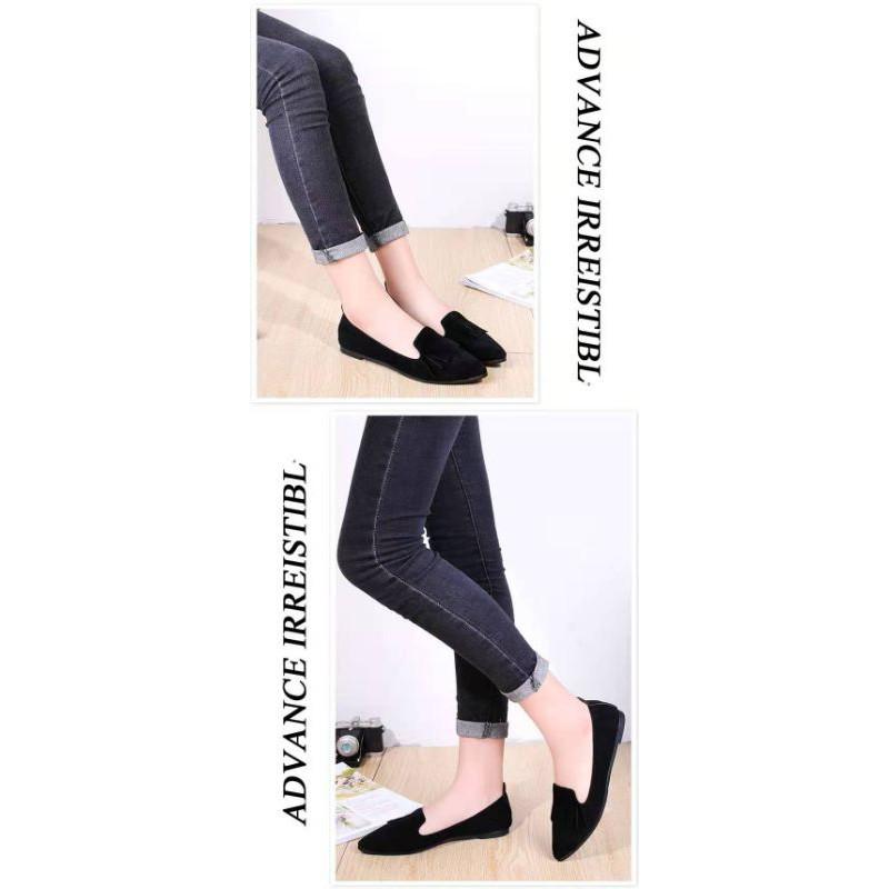 คัชชู⌵ รองเท้าคัชชูผู้หญิง ผ้ากำมะหยี่ ทรงหัวแหลม เบาสบายเท้า มี 2 สี A16