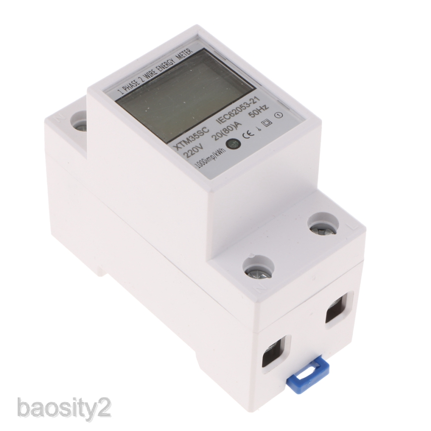 A Digital 1-phase 2 Wire 2P DIN-Rail Electric Meter Electronic KWh Meter 80 Electric Meter,220V 5