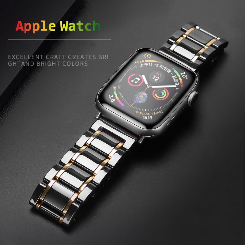 สายนาฬิกาข้อมือสแตนเลสสตีลเซรามิกหรูหราสําหรับ Apple Watch 5 Band 44 มม. 40 ม. 38 มม. 42 มม. Series 4 5