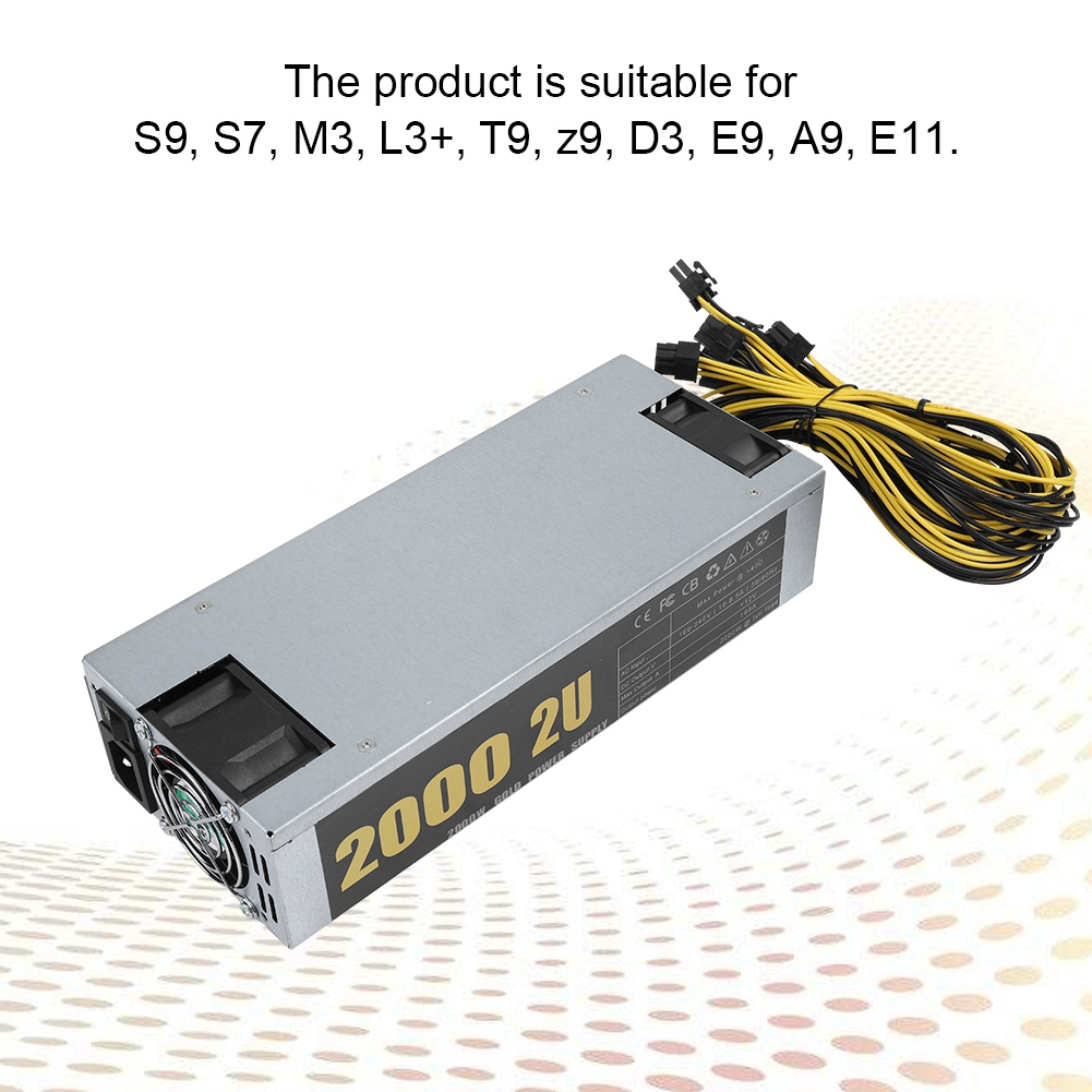 Mining S7 S9 Miner Machine Power L3+ M3 Supply 2000W For 2U 160-240V Supply  Power