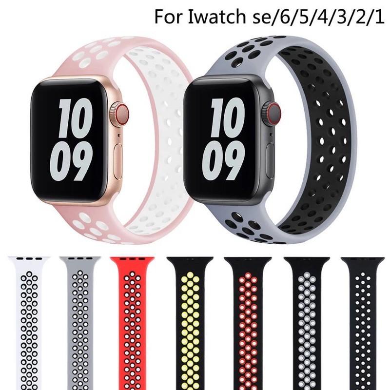 Nike สายนาฬิกาข้อมือซิลิโคนสําหรับ Apple Watch 2 / 3 / 4 / 5 / 6 Series 44 / 42 / 40 / 38 มม .