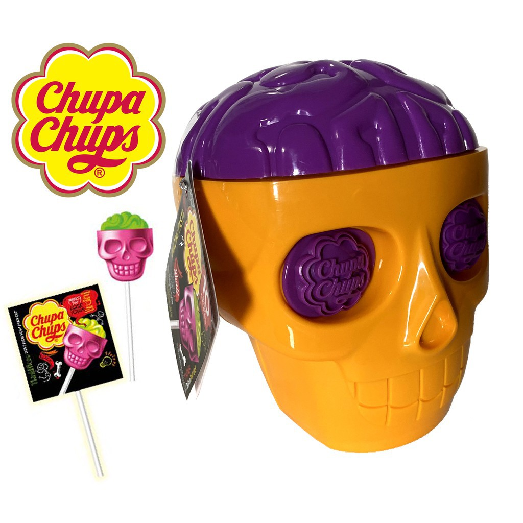 ▫✹☫Chupa Chups Skull ลูกอม อมยิ้ม หัวกะโหลก จูปาจุ๊ปส์ ChupaChups Yellow,Purple Halloween