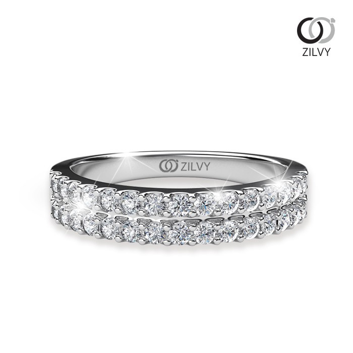 ราคาไม่แพงมาก✙✕Zilvy - แหวนหญิงเพชรน้ำร้อย 0.60 กะรัต ตัวเรือน ทองคำขาว (GR459)