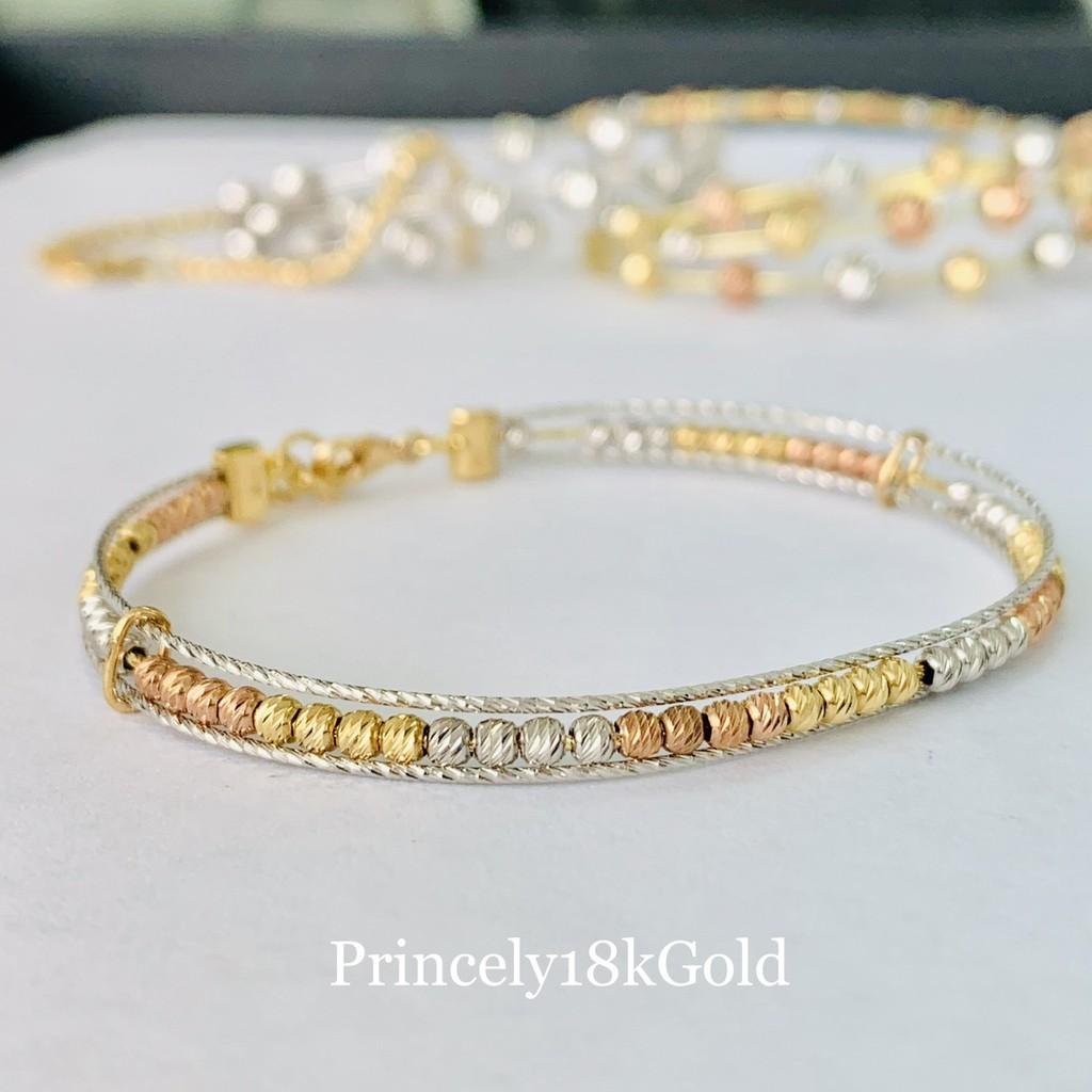 Princely กำไลข้อมือทองเคแท้ 18K (นำเข้าจากอิตาลี) ลายเม็ดบีทเจียเหลี่ยมเพชร สี3กษัตริย์