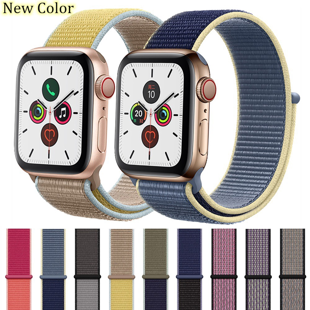 Apple Watch 42 มม. 38 มม. 40 มม. 44 มม Nylon Loop สายนาฬิกาข้อมือ for iWatch Series 5 4 3 2 1 ไนลอน apple watch band