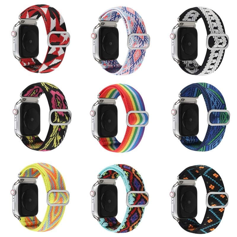 Nylon watch band For Apple watch 6 5 SE 38mm 42mm Adjustable elastic nylon Strap for iwatch series 4 2 3 40mm 44mm Brace