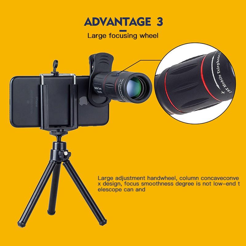 เลนส์กล้องโทรทรรศน์ออฟติคอล 18 X สําหรับ Iphone Samsung สมาร์ทโฟน