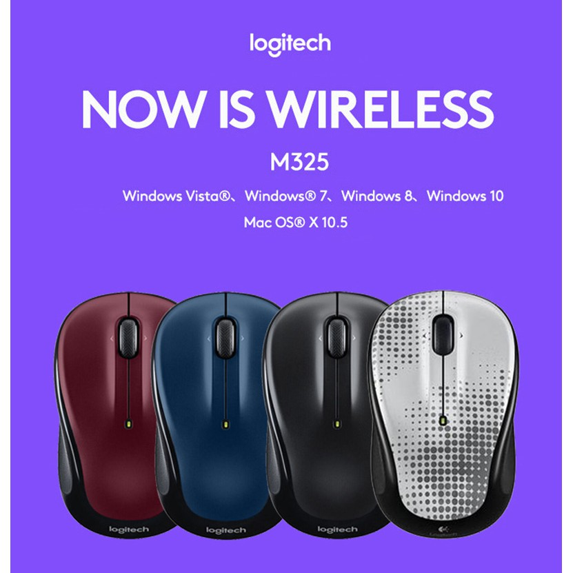 Logitech M325 wireless gaming mouse with 1000DPI Nano receiver, support  official certification 100%
