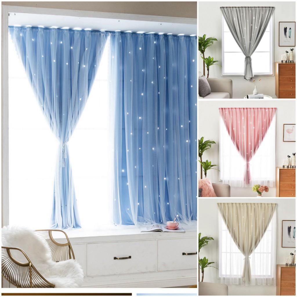 ผ้าม่านหน้าต่าง ผ้าม่านสำเร็จรูป กันแสง 2 ชั้น ใช้ตีนตุ๊กแก รูปดาว