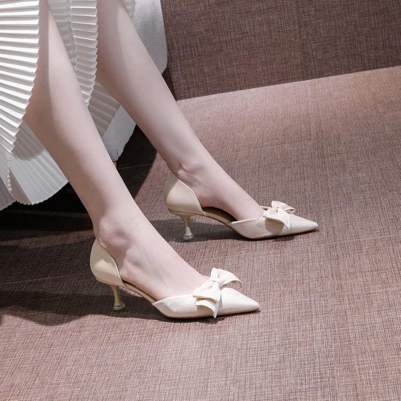 🌈ส่งจากไทย รองเท้าส้นสูงผู้หญิง รองเท้าคัชชูหัวแหลมส้นเตารีด รองเท้าส้นเข็มแฟชั่นเซ็กซี่