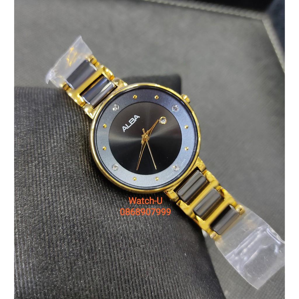 นาฬิกาข้อมือผู้หญิง Alba black&gold สวยมาก รุ่น AH7R88X1