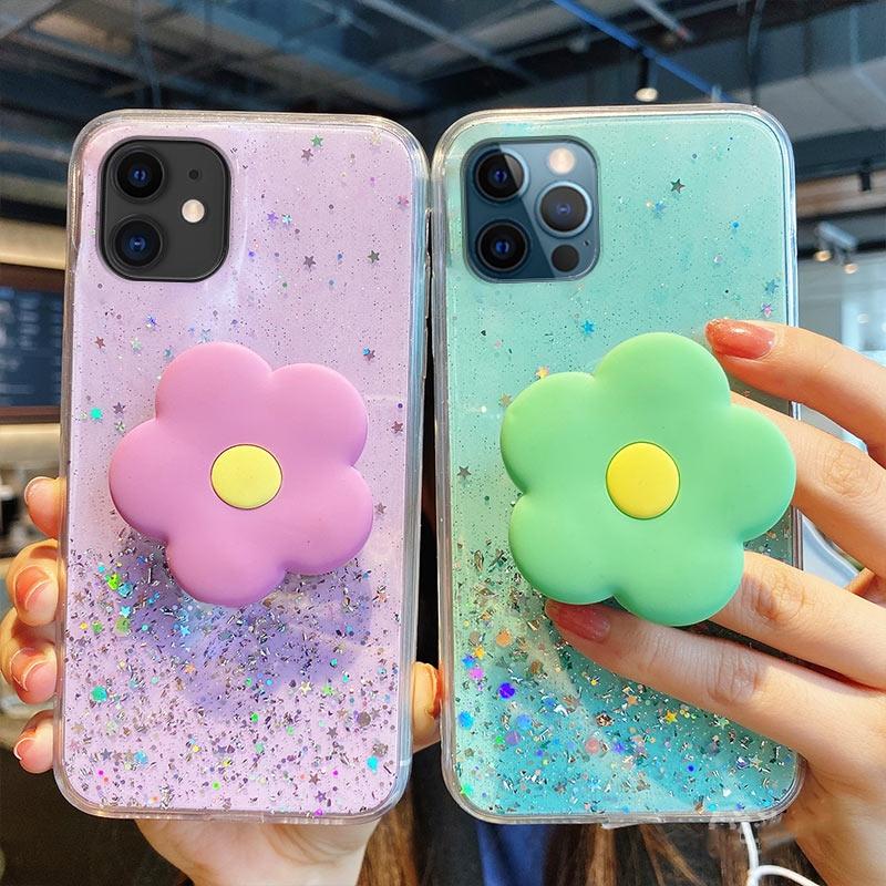 เคส Samsung J8 J7 J6 J6+ J4 J7 Pro Prime A21S A02S A9 A7 A6 A6 Plus 2018 2019 2020 INS Starry Sky Glitter Soft Case + Fresh Flower Stand