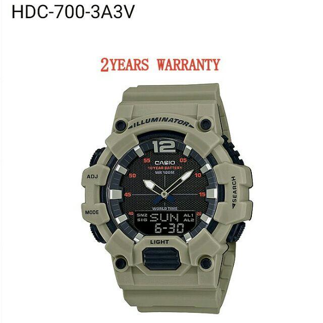 แฟชั่น    [2 ปีรับประกัน] ต้นฉบับ Casio HDC-700-3A3V Men Youth Digital Analogy Sports