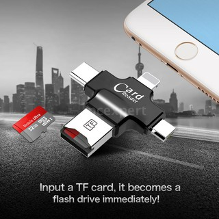 PCER◆TF Card Reader 4-in-1 TF Memory Card Reader Adapter for iPhone/Andro